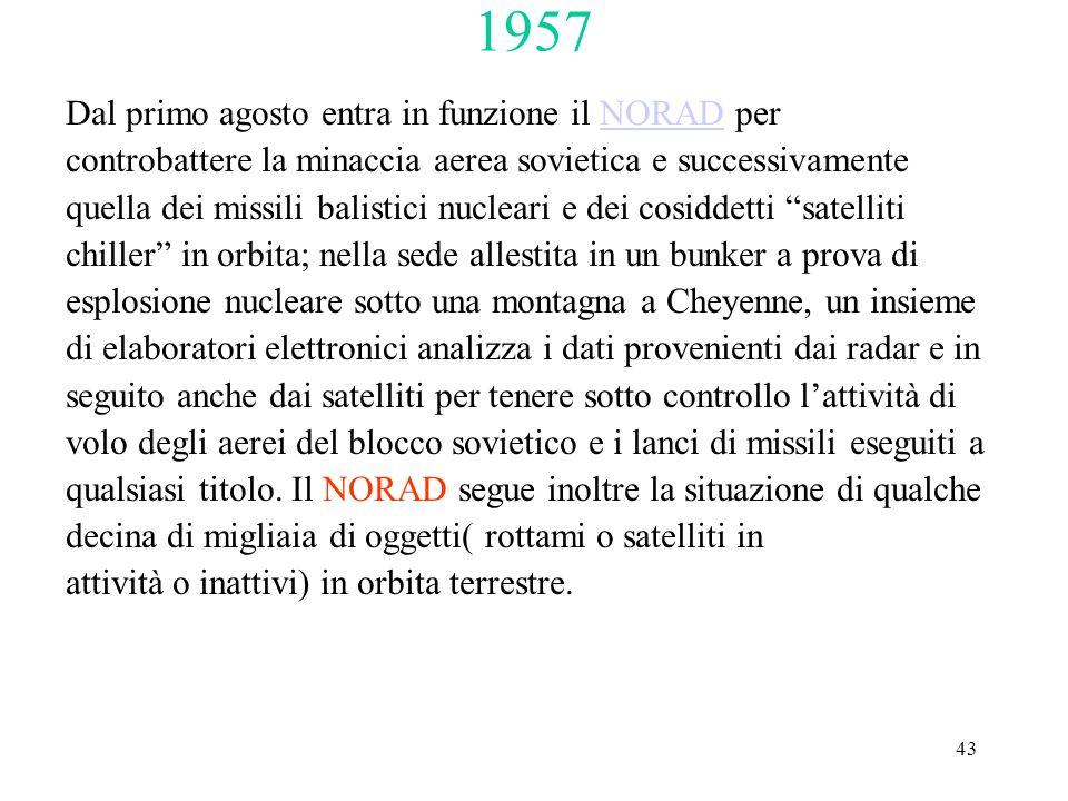 43 1957 Dal primo agosto entra in funzione il NORAD perNORAD controbattere la minaccia aerea sovietica e successivamente quella dei missili balistici