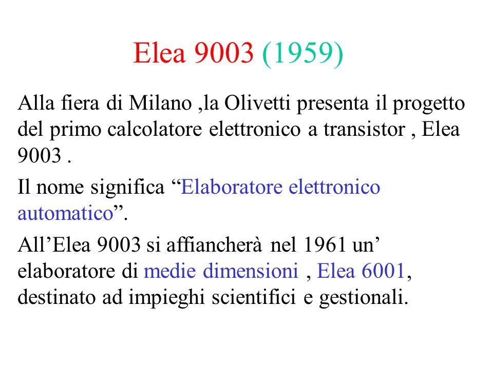 """Elea 9003 (1959) Alla fiera di Milano,la Olivetti presenta il progetto del primo calcolatore elettronico a transistor, Elea 9003. Il nome significa """"E"""