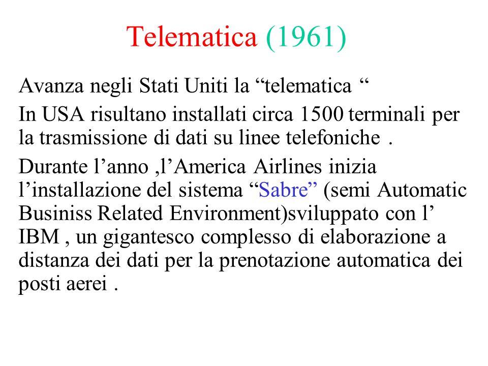 Telematica (1961) Avanza negli Stati Uniti la telematica In USA risultano installati circa 1500 terminali per la trasmissione di dati su linee telefoniche.