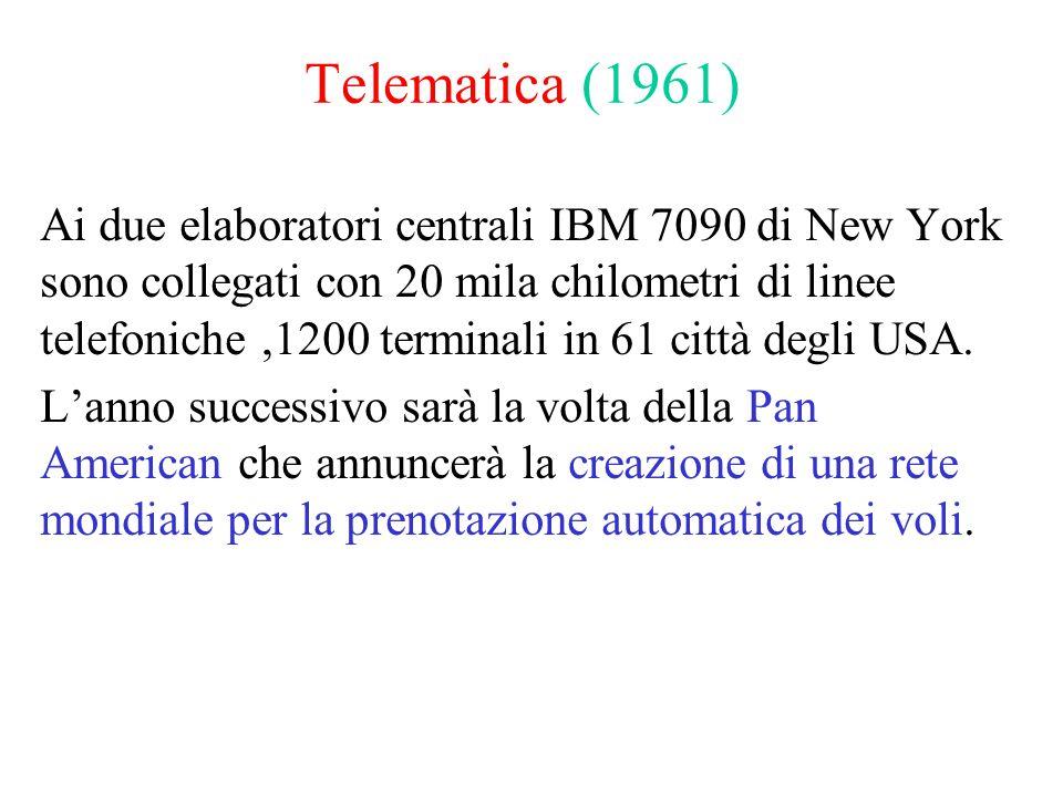 Telematica (1961) Ai due elaboratori centrali IBM 7090 di New York sono collegati con 20 mila chilometri di linee telefoniche,1200 terminali in 61 città degli USA.