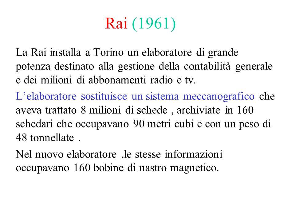 Rai (1961) La Rai installa a Torino un elaboratore di grande potenza destinato alla gestione della contabilità generale e dei milioni di abbonamenti radio e tv.