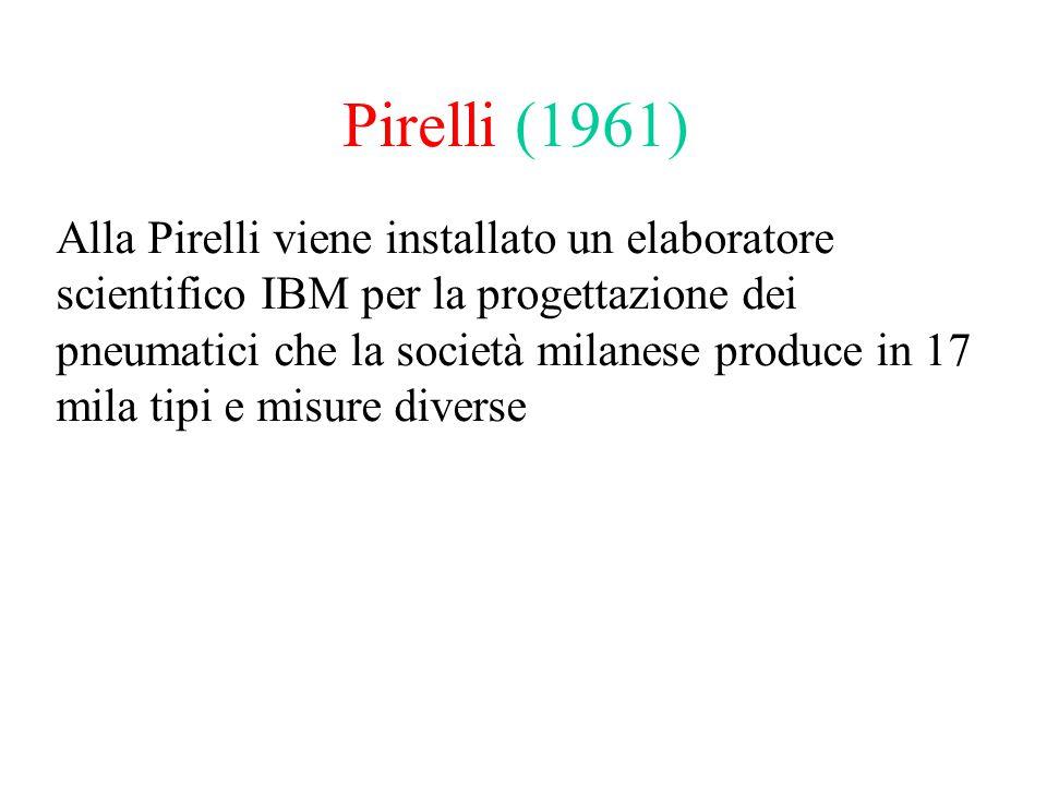 Pirelli (1961) Alla Pirelli viene installato un elaboratore scientifico IBM per la progettazione dei pneumatici che la società milanese produce in 17 mila tipi e misure diverse