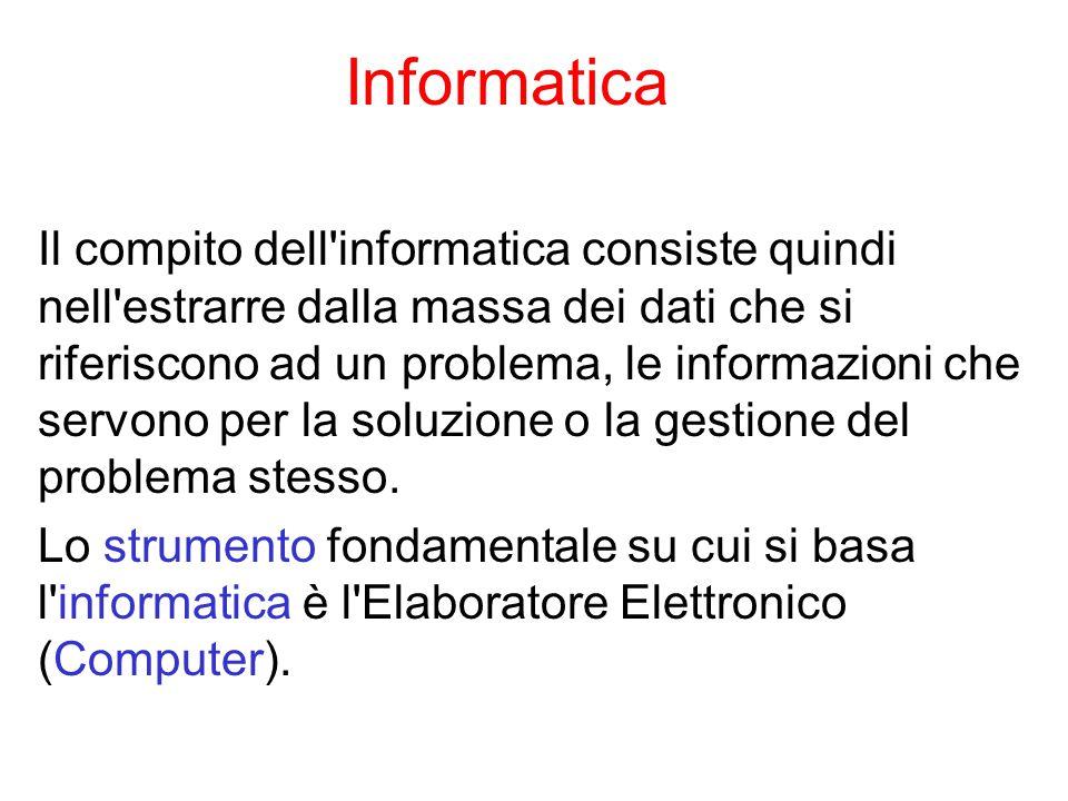 Informatica Il compito dell informatica consiste quindi nell estrarre dalla massa dei dati che si riferiscono ad un problema, le informazioni che servono per la soluzione o la gestione del problema stesso.