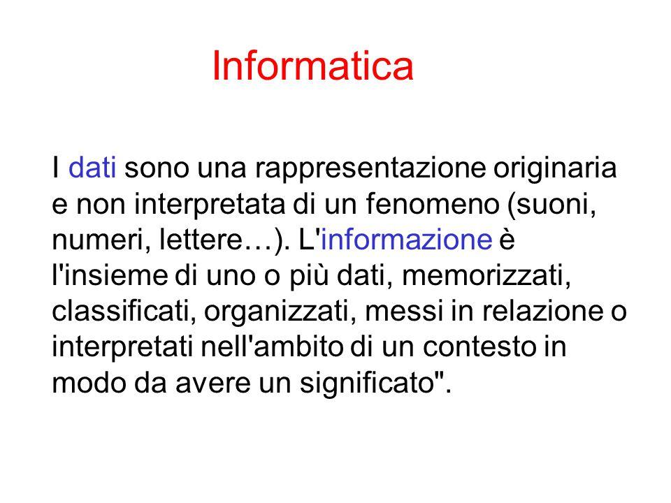Informatica I dati sono una rappresentazione originaria e non interpretata di un fenomeno (suoni, numeri, lettere…). L'informazione è l'insieme di uno