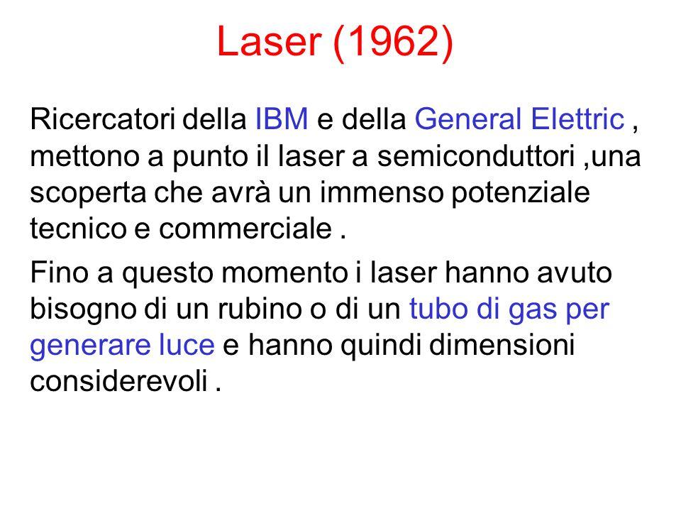 Laser (1962) Ricercatori della IBM e della General Elettric, mettono a punto il laser a semiconduttori,una scoperta che avrà un immenso potenziale tecnico e commerciale.
