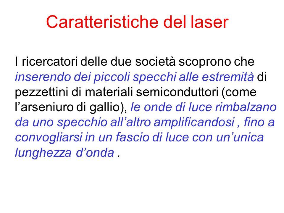 Caratteristiche del laser I ricercatori delle due società scoprono che inserendo dei piccoli specchi alle estremità di pezzettini di materiali semicon