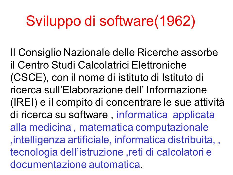 Sviluppo di software(1962) Il Consiglio Nazionale delle Ricerche assorbe il Centro Studi Calcolatrici Elettroniche (CSCE), con il nome di istituto di