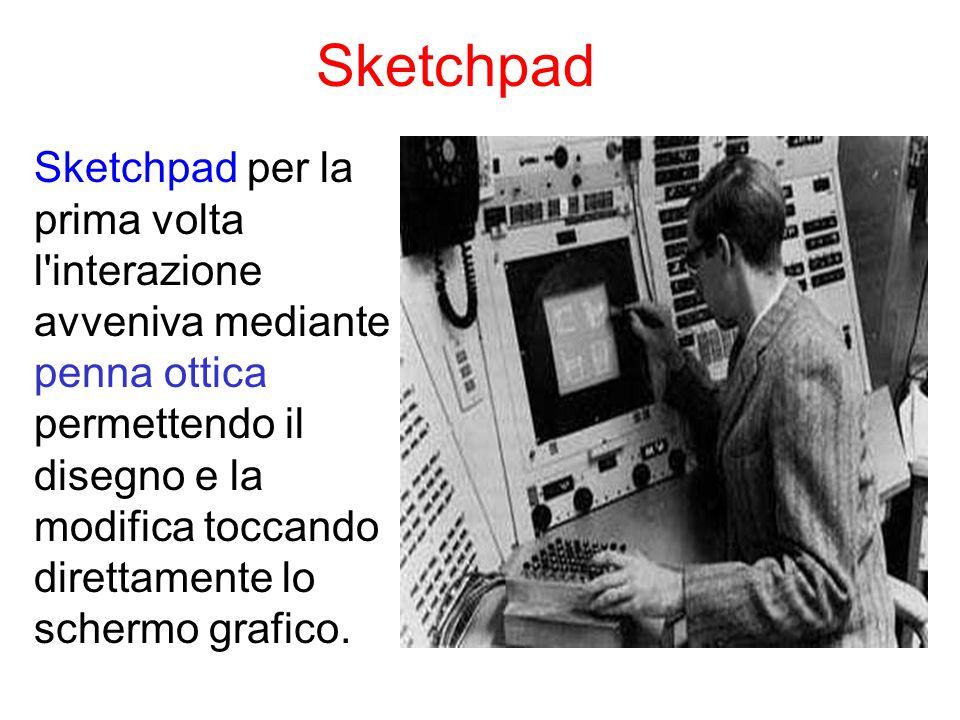 Sketchpad Sketchpad per la prima volta l interazione avveniva mediante penna ottica permettendo il disegno e la modifica toccando direttamente lo schermo grafico.
