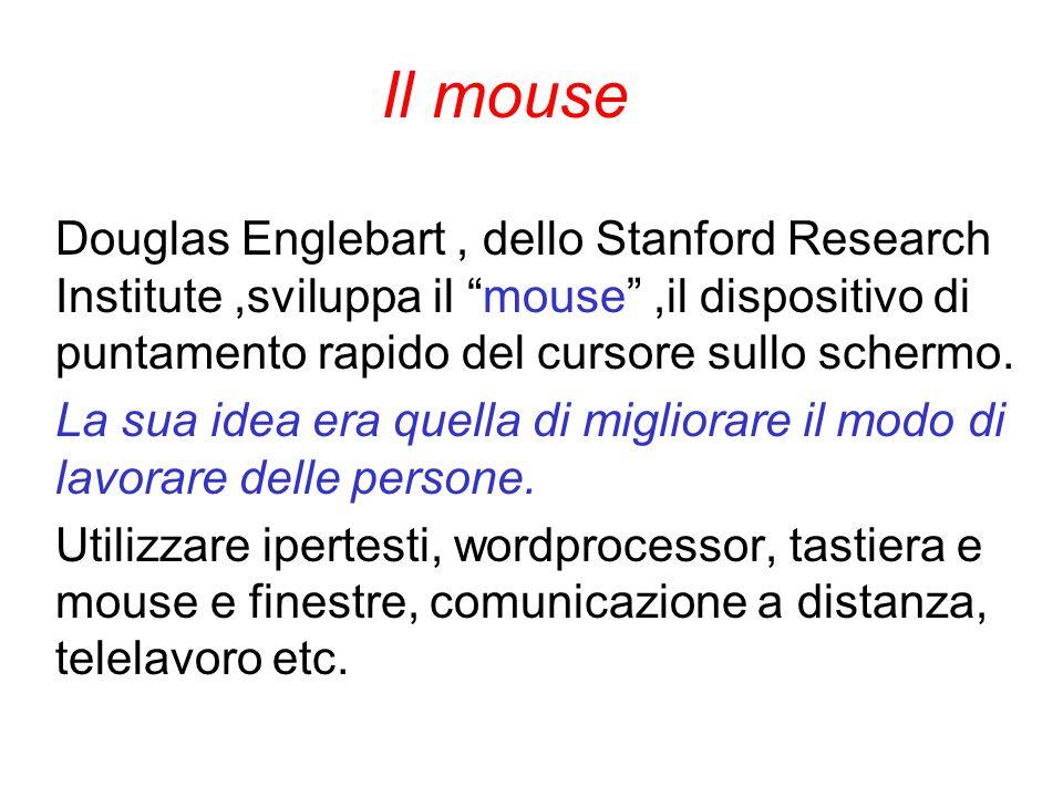 """Il mouse Douglas Englebart, dello Stanford Research Institute,sviluppa il """"mouse"""",il dispositivo di puntamento rapido del cursore sullo schermo. La su"""