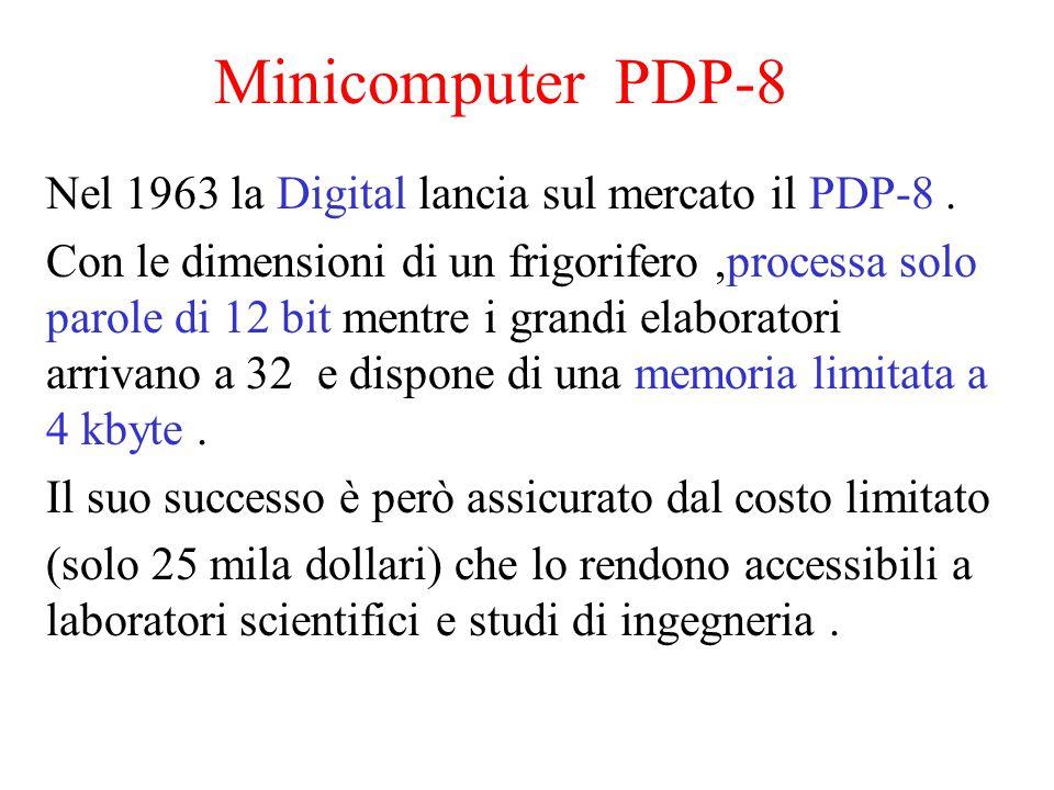 Minicomputer PDP-8 Nel 1963 la Digital lancia sul mercato il PDP-8. Con le dimensioni di un frigorifero,processa solo parole di 12 bit mentre i grandi