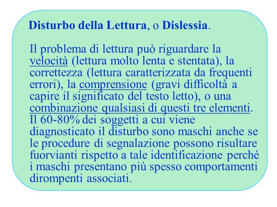 Disturbo della Lettura, o Dislessia.