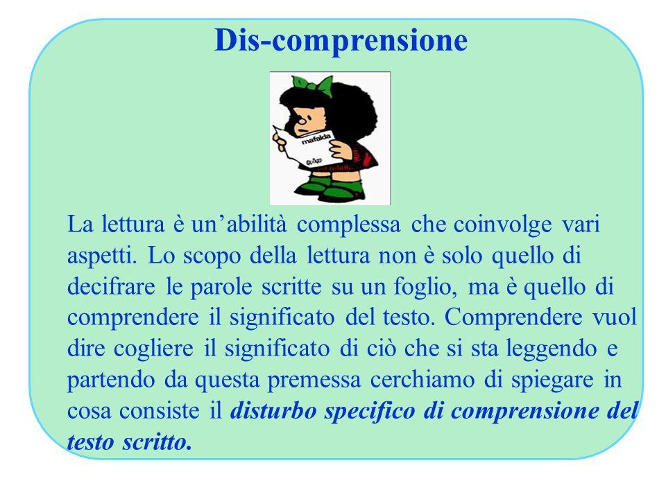 Dis-comprensione La lettura è un'abilità complessa che coinvolge vari aspetti. Lo scopo della lettura non è solo quello di decifrare le parole scritte