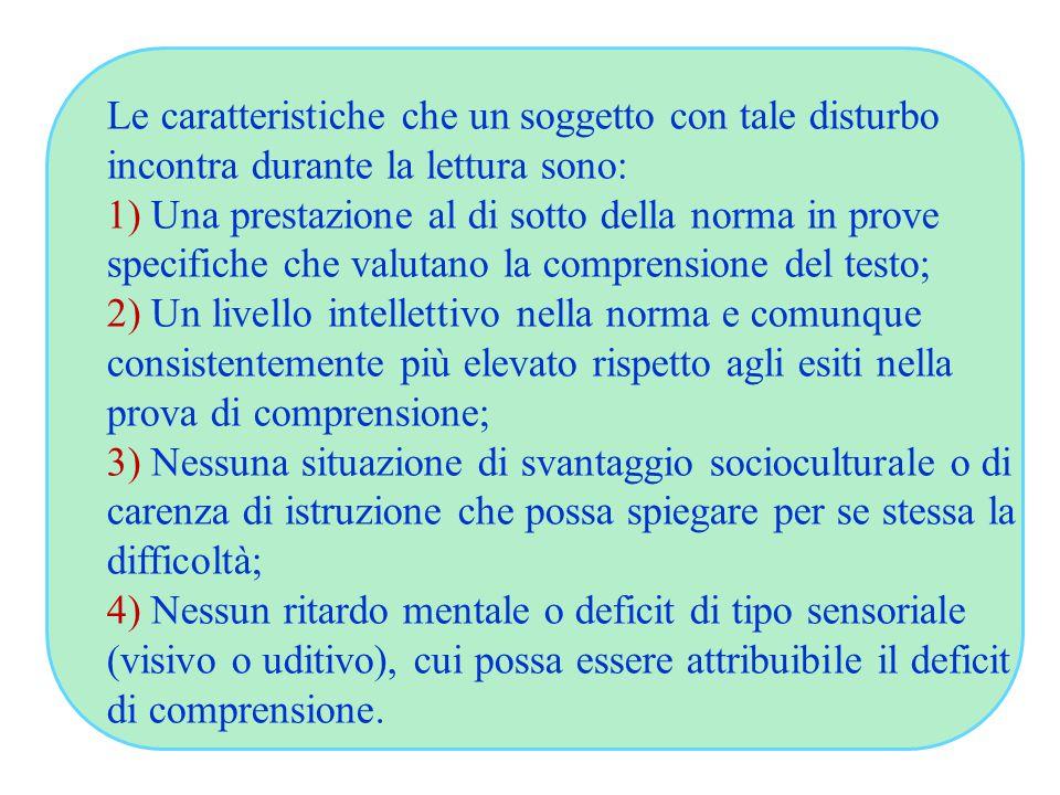 Le caratteristiche che un soggetto con tale disturbo incontra durante la lettura sono: 1) Una prestazione al di sotto della norma in prove specifiche