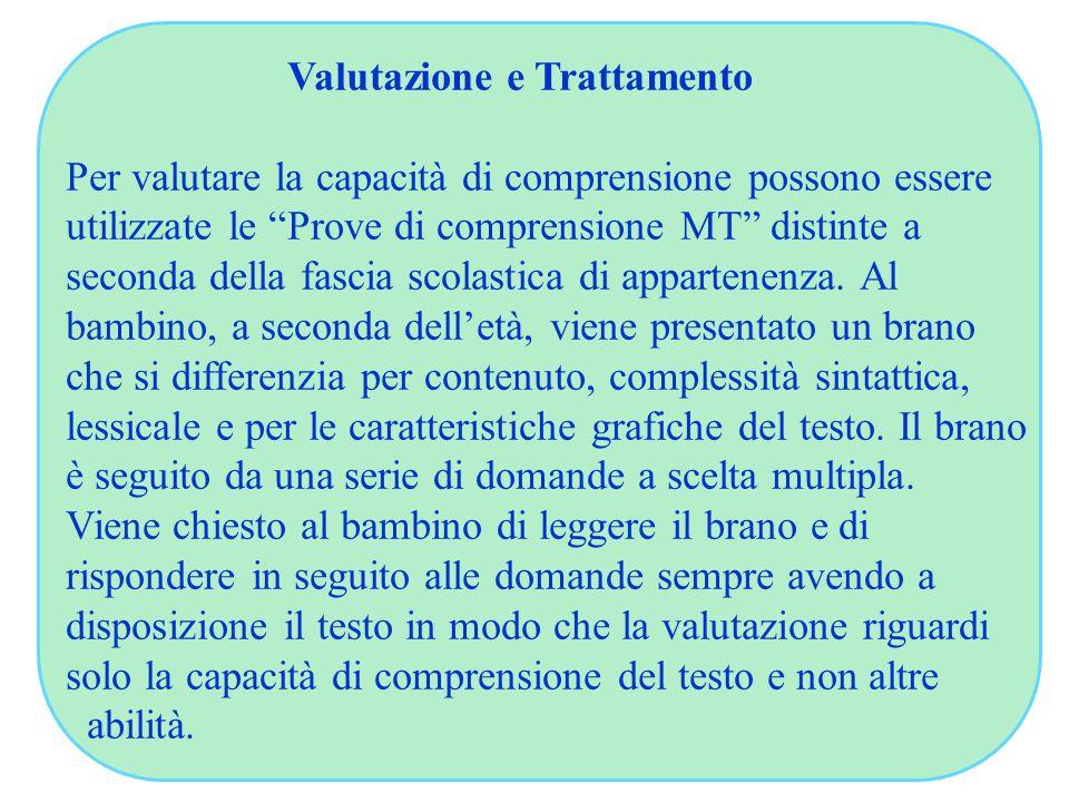 """Valutazione e Trattamento Per valutare la capacità di comprensione possono essere utilizzate le """"Prove di comprensione MT"""" distinte a seconda della fa"""