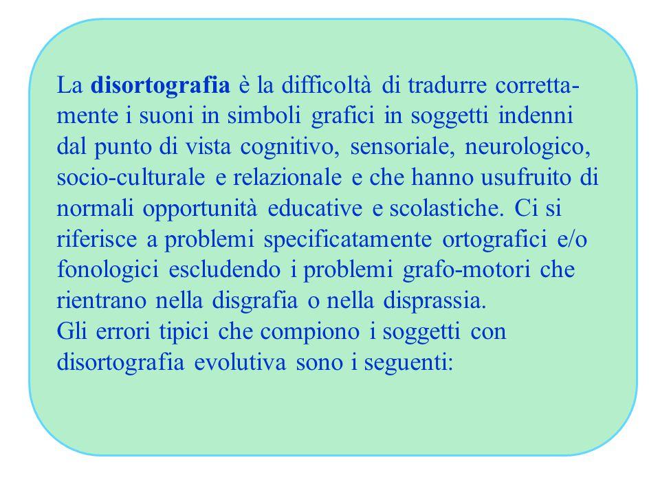 La disortografia è la difficoltà di tradurre corretta- mente i suoni in simboli grafici in soggetti indenni dal punto di vista cognitivo, sensoriale, neurologico, socio-culturale e relazionale e che hanno usufruito di normali opportunità educative e scolastiche.
