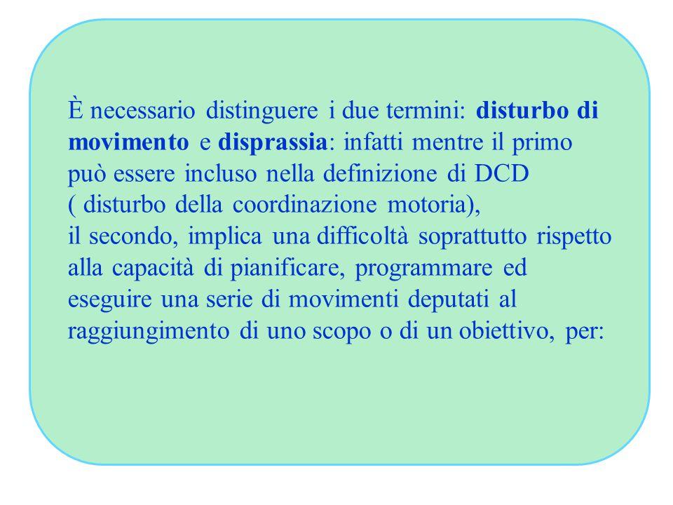 È necessario distinguere i due termini: disturbo di movimento e disprassia: infatti mentre il primo può essere incluso nella definizione di DCD ( dist