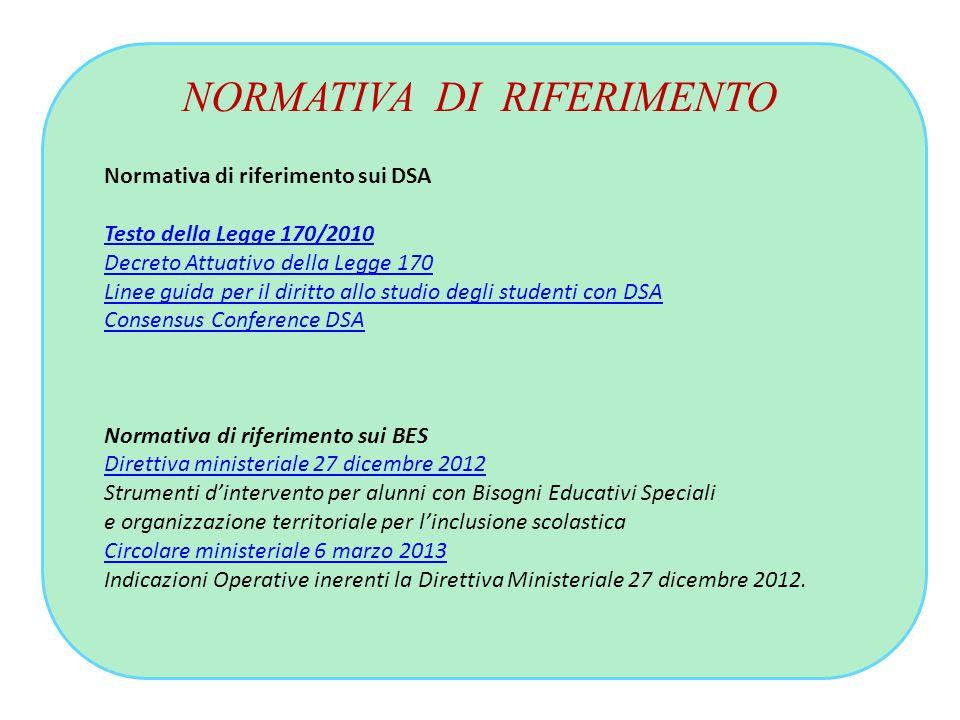 NORMATIVA DI RIFERIMENTO Normativa di riferimento sui DSA Testo della Legge 170/2010 Decreto Attuativo della Legge 170 Linee guida per il diritto allo
