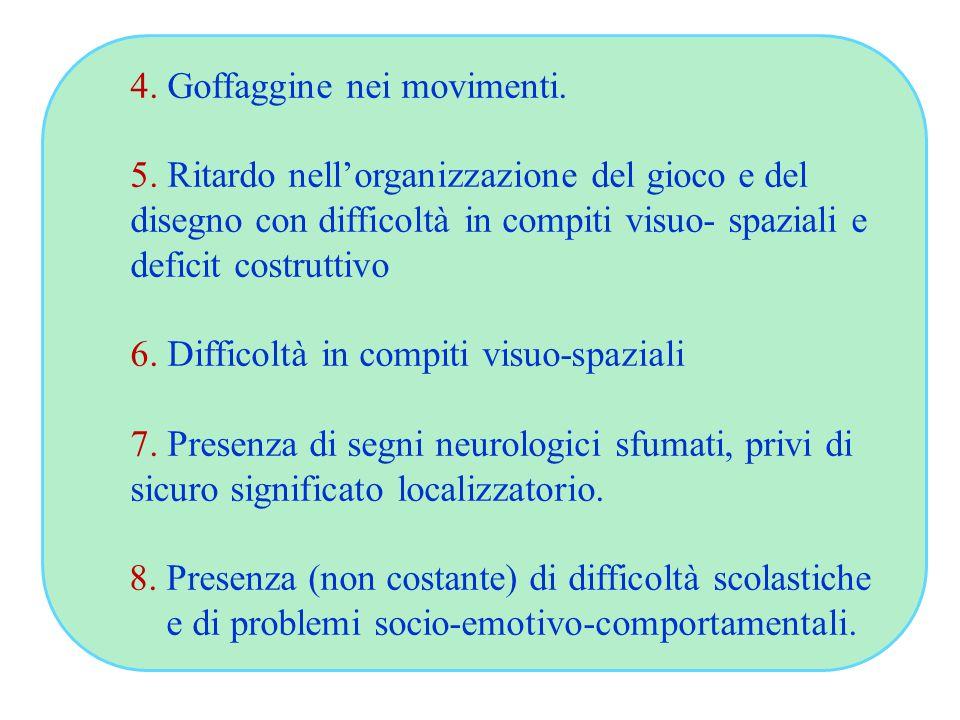4. Goffaggine nei movimenti. 5. Ritardo nell'organizzazione del gioco e del disegno con difficoltà in compiti visuo- spaziali e deficit costruttivo 6.
