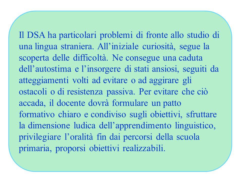 Il DSA ha particolari problemi di fronte allo studio di una lingua straniera. All'iniziale curiosità, segue la scoperta delle difficoltà. Ne consegue