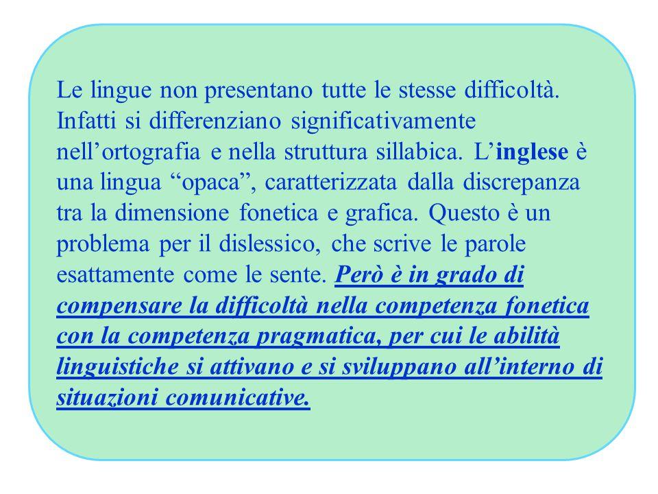 Le lingue non presentano tutte le stesse difficoltà. Infatti si differenziano significativamente nell'ortografia e nella struttura sillabica. L'ingles