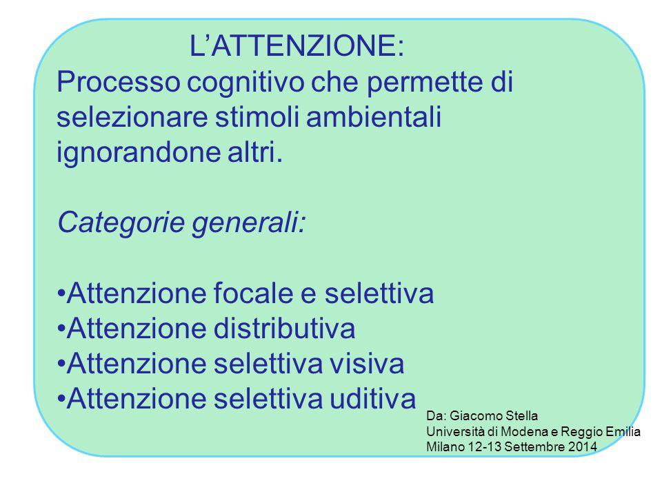 L'ATTENZIONE: Processo cognitivo che permette di selezionare stimoli ambientali ignorandone altri. Categorie generali: Attenzione focale e selettiva A
