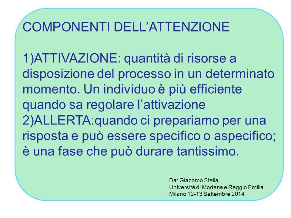 COMPONENTI DELL'ATTENZIONE 1)ATTIVAZIONE: quantità di risorse a disposizione del processo in un determinato momento.