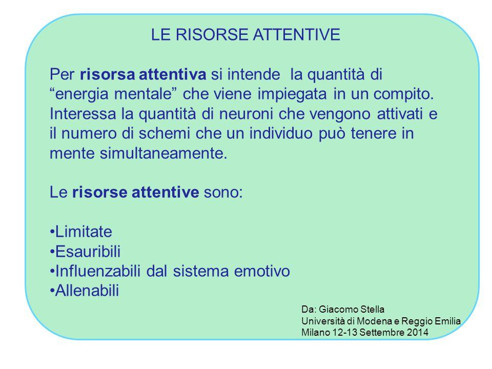 LE RISORSE ATTENTIVE Per risorsa attentiva si intende la quantità di energia mentale che viene impiegata in un compito.