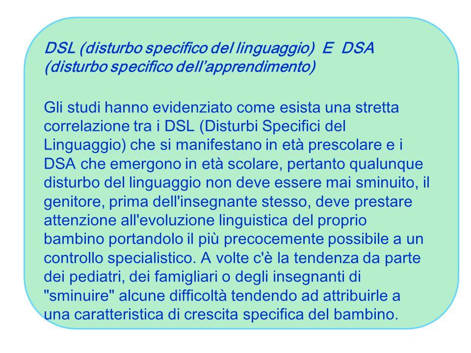 DSL (disturbo specifico del linguaggio) E DSA (disturbo specifico dell'apprendimento) Gli studi hanno evidenziato come esista una stretta correlazione tra i DSL (Disturbi Specifici del Linguaggio) che si manifestano in età prescolare e i DSA che emergono in età scolare, pertanto qualunque disturbo del linguaggio non deve essere mai sminuito, il genitore, prima dell insegnante stesso, deve prestare attenzione all evoluzione linguistica del proprio bambino portandolo il più precocemente possibile a un controllo specialistico.