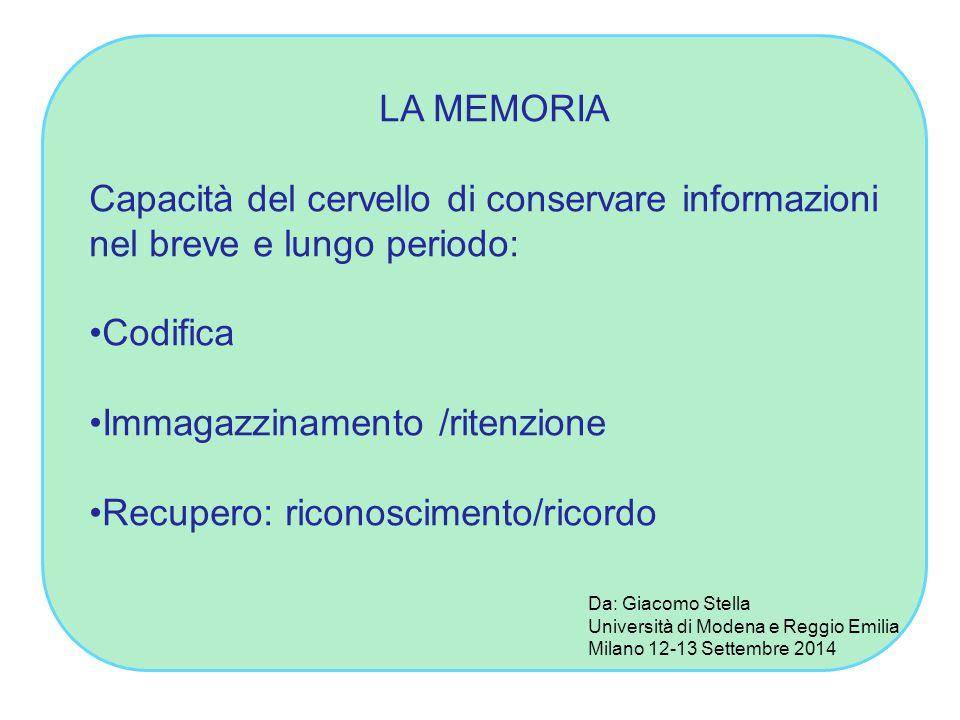 LA MEMORIA Capacità del cervello di conservare informazioni nel breve e lungo periodo: Codifica Immagazzinamento /ritenzione Recupero: riconoscimento/