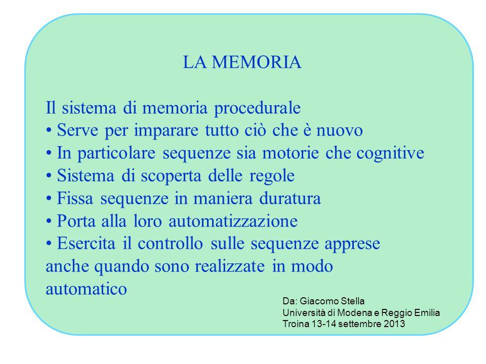 LA MEMORIA Il sistema di memoria procedurale Serve per imparare tutto ciò che è nuovo In particolare sequenze sia motorie che cognitive Sistema di sco