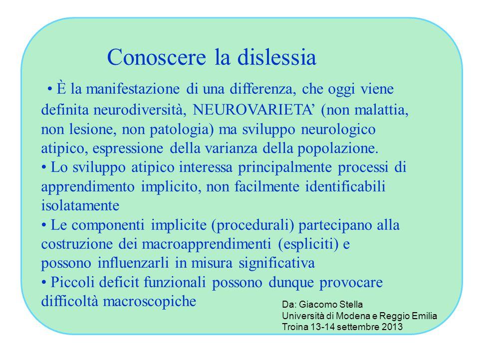 Conoscere la dislessia È la manifestazione di una differenza, che oggi viene definita neurodiversità, NEUROVARIETA' (non malattia, non lesione, non pa
