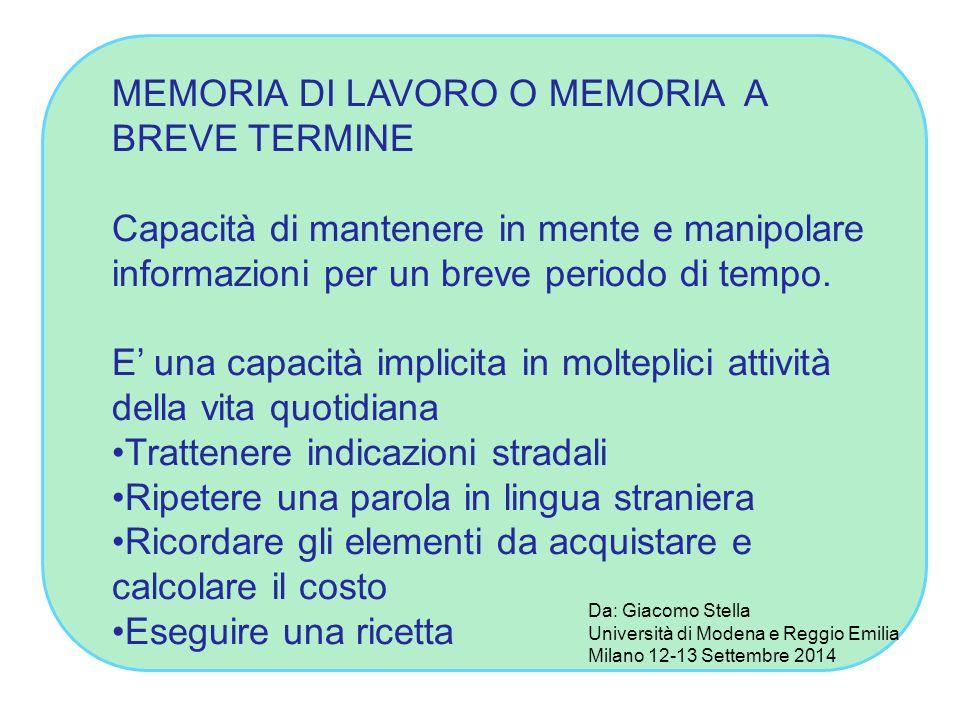 MEMORIA DI LAVORO O MEMORIA A BREVE TERMINE Capacità di mantenere in mente e manipolare informazioni per un breve periodo di tempo. E' una capacità im