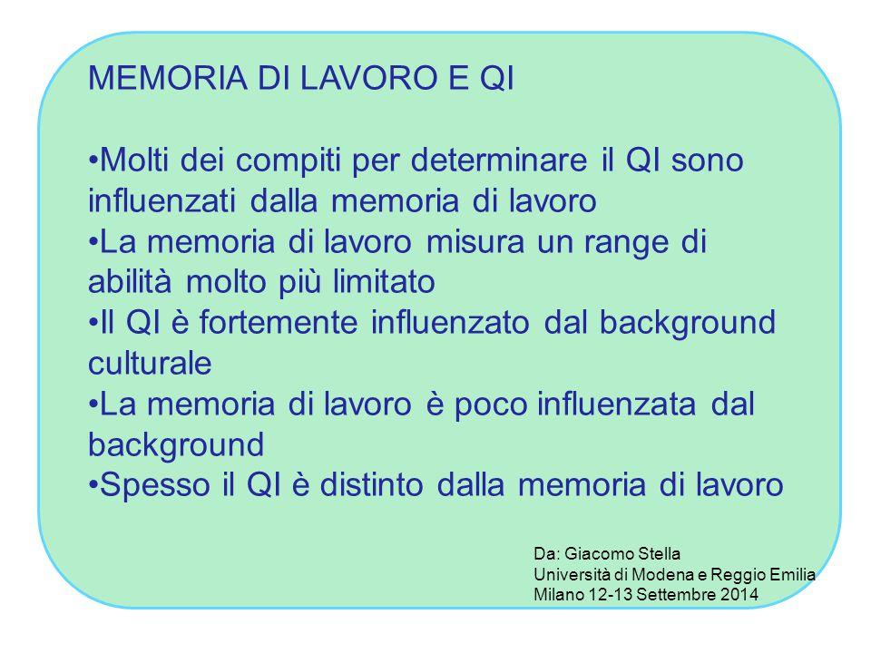 MEMORIA DI LAVORO E QI Molti dei compiti per determinare il QI sono influenzati dalla memoria di lavoro La memoria di lavoro misura un range di abilit