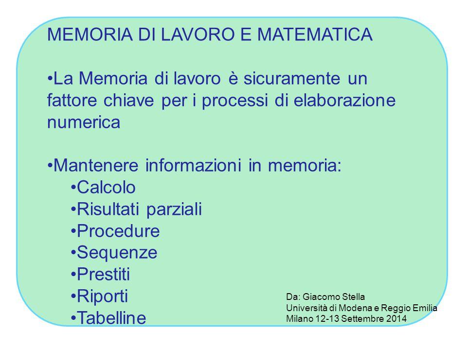 MEMORIA DI LAVORO E MATEMATICA La Memoria di lavoro è sicuramente un fattore chiave per i processi di elaborazione numerica Mantenere informazioni in