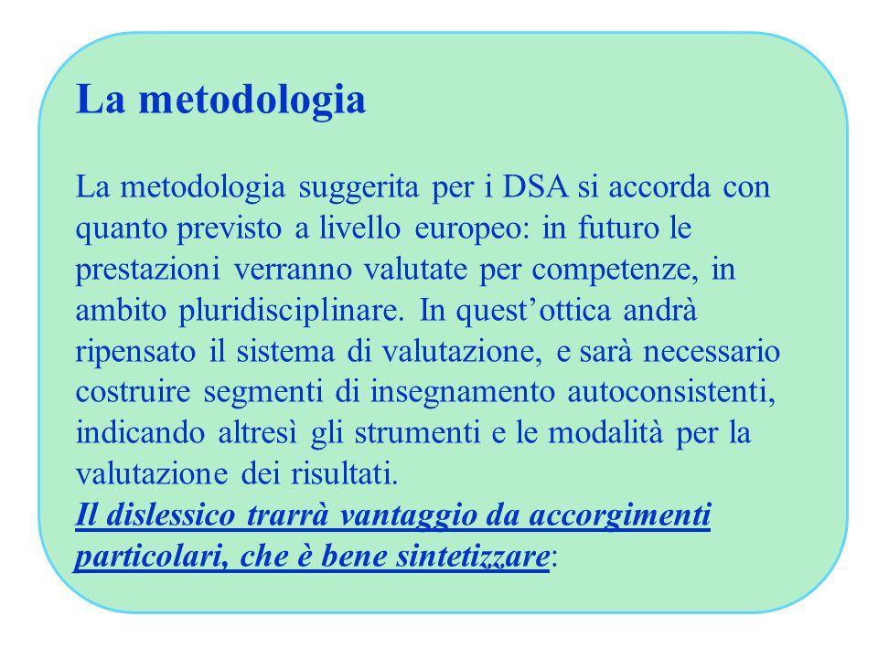 La metodologia La metodologia suggerita per i DSA si accorda con quanto previsto a livello europeo: in futuro le prestazioni verranno valutate per competenze, in ambito pluridisciplinare.