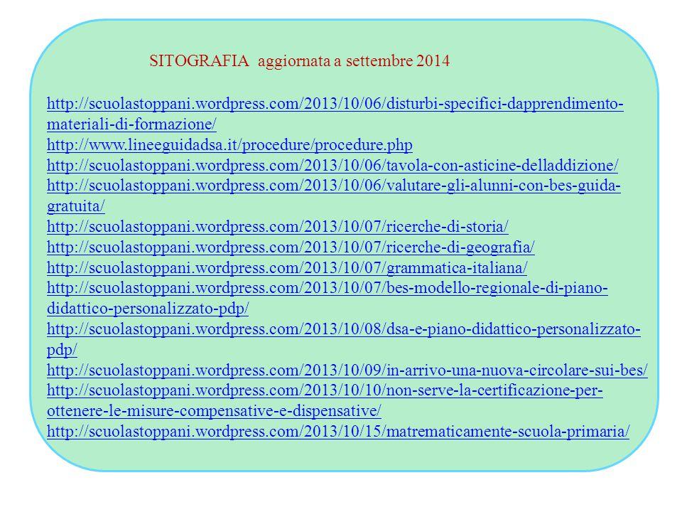 SITOGRAFIA aggiornata a settembre 2014 http://scuolastoppani.wordpress.com/2013/10/06/disturbi-specifici-dapprendimento- materiali-di-formazione/ http://www.lineeguidadsa.it/procedure/procedure.php http://scuolastoppani.wordpress.com/2013/10/06/tavola-con-asticine-delladdizione/ http://scuolastoppani.wordpress.com/2013/10/06/valutare-gli-alunni-con-bes-guida- gratuita/ http://scuolastoppani.wordpress.com/2013/10/07/ricerche-di-storia/ http://scuolastoppani.wordpress.com/2013/10/07/ricerche-di-geografia/ http://scuolastoppani.wordpress.com/2013/10/07/grammatica-italiana/ http://scuolastoppani.wordpress.com/2013/10/07/bes-modello-regionale-di-piano- didattico-personalizzato-pdp/ http://scuolastoppani.wordpress.com/2013/10/08/dsa-e-piano-didattico-personalizzato- pdp/ http://scuolastoppani.wordpress.com/2013/10/09/in-arrivo-una-nuova-circolare-sui-bes/ http://scuolastoppani.wordpress.com/2013/10/10/non-serve-la-certificazione-per- ottenere-le-misure-compensative-e-dispensative/ http://scuolastoppani.wordpress.com/2013/10/15/matrematicamente-scuola-primaria/