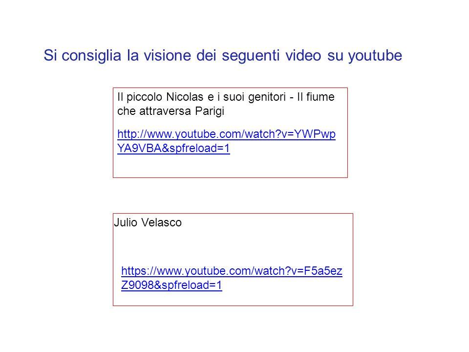 http://www.youtube.com/watch?v=YWPwp YA9VBA&spfreload=1 Il piccolo Nicolas e i suoi genitori - Il fiume che attraversa Parigi Julio Velasco Si consigl