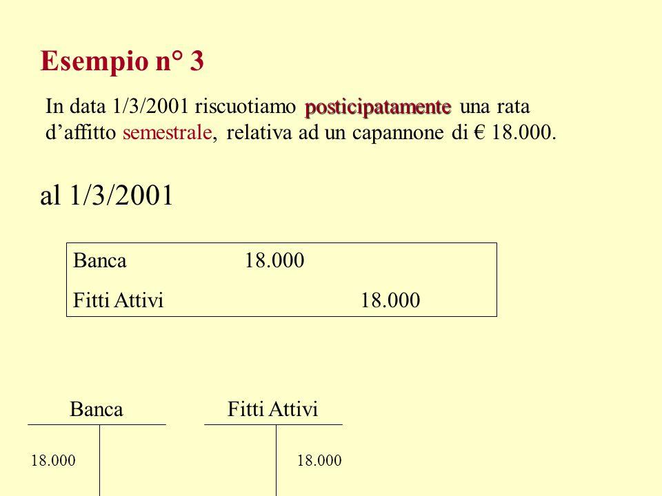 Esempio n° 2 al 31/12 Risconti Attivi 2.163,33 Canone Leasing 2.163,33 3.300 Risconti Attivi 2.163,33 S 1.136,67 S.E.S.P. Intero periodo 90 gg. => 59
