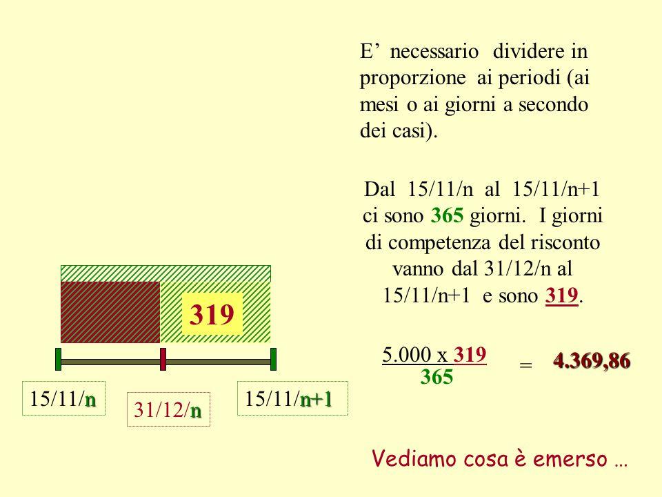 n 31/12/n n 15/11/n E' necessario dividere in proporzione ai periodi (ai mesi o ai giorni a secondo dei casi).