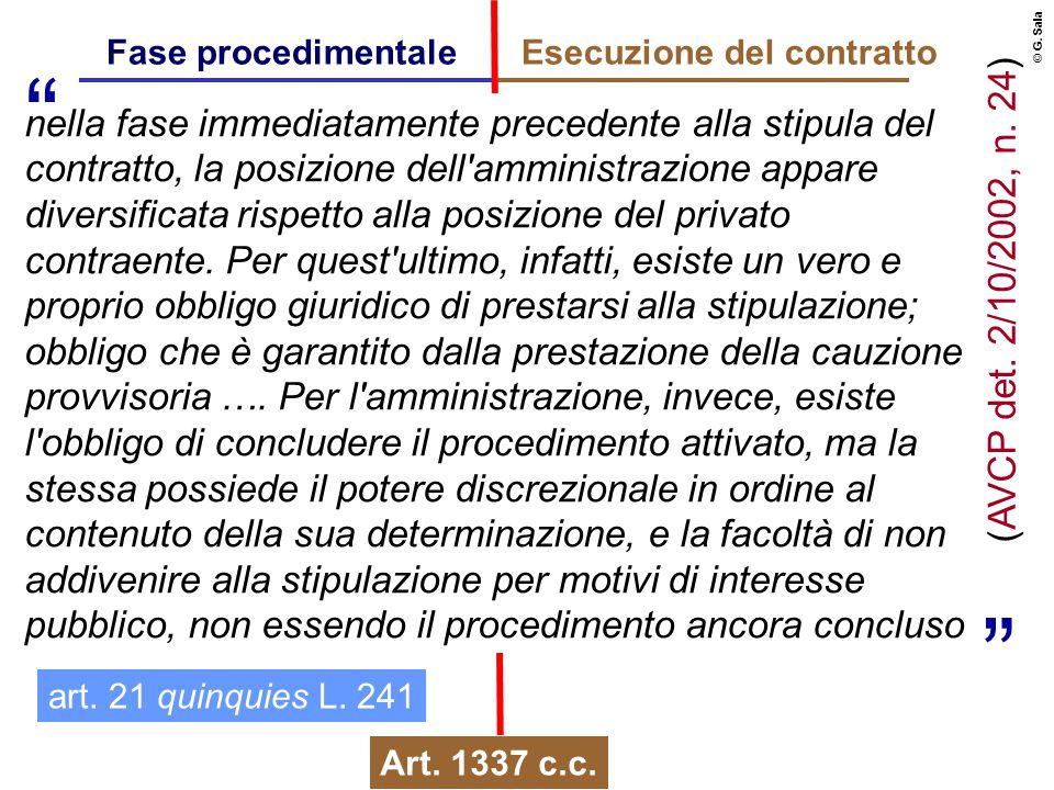© G. Sala Fase procedimentaleEsecuzione del contratto nella fase immediatamente precedente alla stipula del contratto, la posizione dell'amministrazio