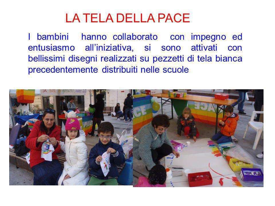 LA TELA DELLA PACE I bambini hanno collaborato con impegno ed entusiasmo all'iniziativa, si sono attivati con bellissimi disegni realizzati su pezzett