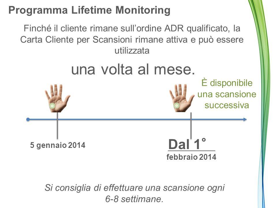Programma Lifetime Monitoring Finché il cliente rimane sull'ordine ADR qualificato, la Carta Cliente per Scansioni rimane attiva e può essere utilizzata una volta al mese.