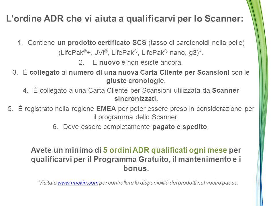 L'ordine ADR che vi aiuta a qualificarvi per lo Scanner: 1.Contiene un prodotto certificato SCS (tasso di carotenoidi nella pelle) (LifePak ® +, JVi ®, LifePak ®, LifePak ® nano, g3)*.