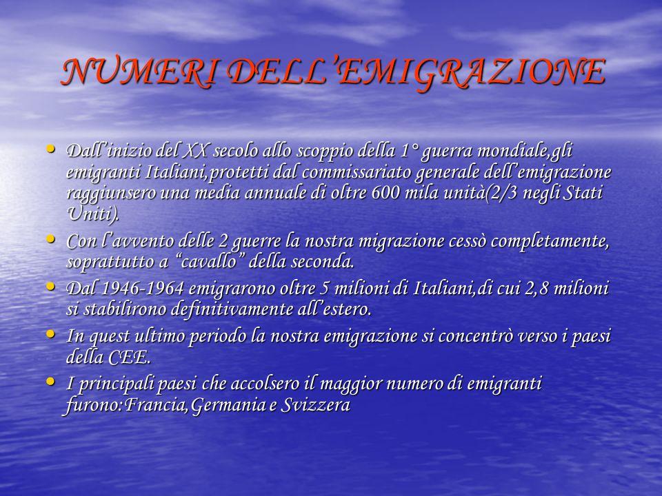 NUMERI DELL'EMIGRAZIONE Dall'inizio del XX secolo allo scoppio della 1° guerra mondiale,gli emigranti Italiani,protetti dal commissariato generale del