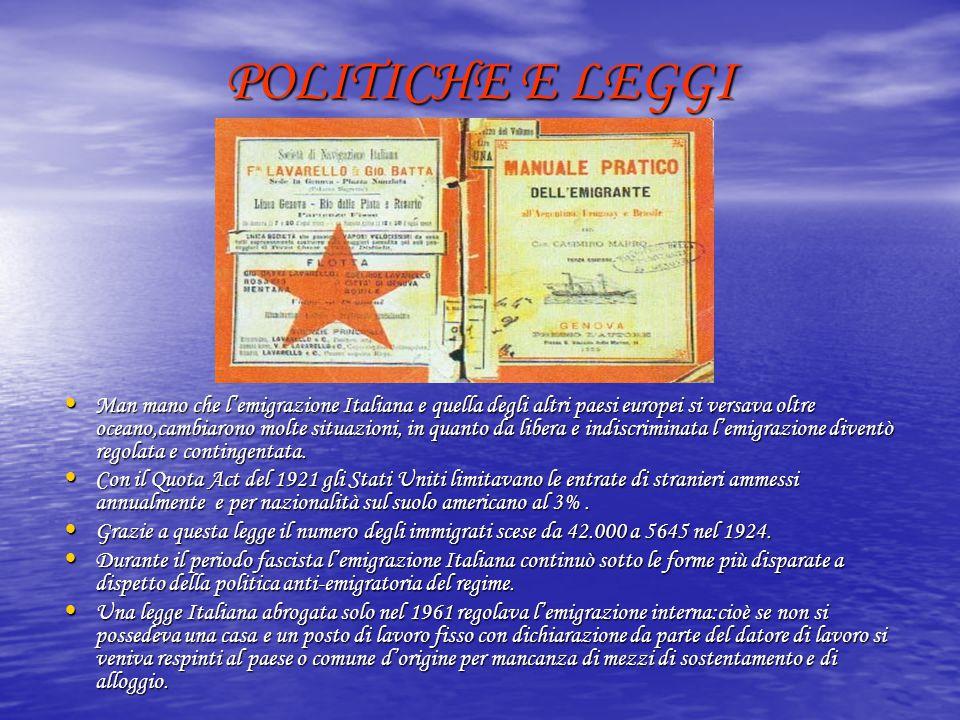 POLITICHE E LEGGI Man mano che l'emigrazione Italiana e quella degli altri paesi europei si versava oltre oceano,cambiarono molte situazioni, in quant