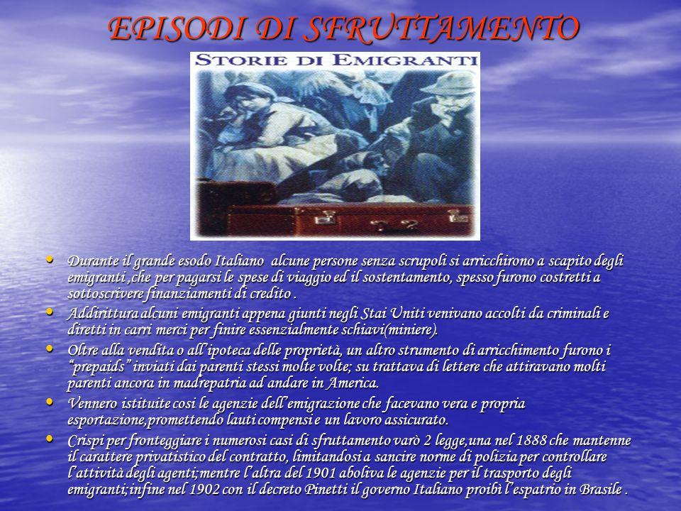 EPISODI DI SFRUTTAMENTO Durante il grande esodo Italiano alcune persone senza scrupoli si arricchirono a scapito degli emigranti,che per pagarsi le sp