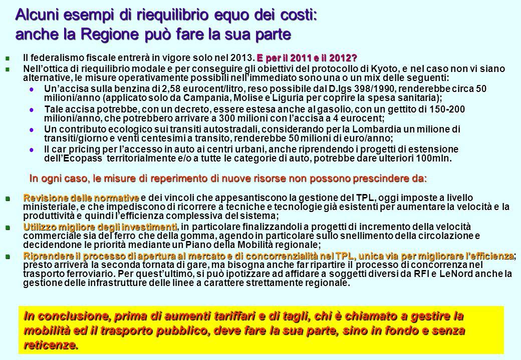 Alcuni esempi di riequilibrio equo dei costi: anche la Regione può fare la sua parte Il federalismo fiscale entrerà in vigore solo nel 2013.