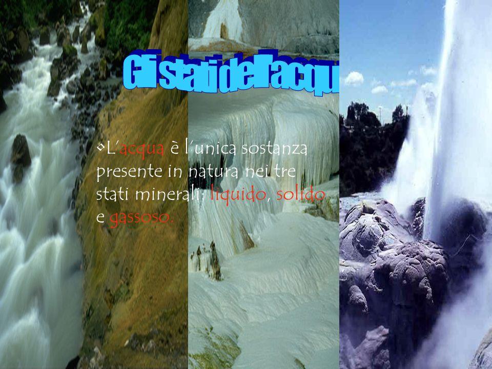 L'acqua è l'unica sostanza presente in natura nei tre stati minerali: liquido, solido e gassoso.