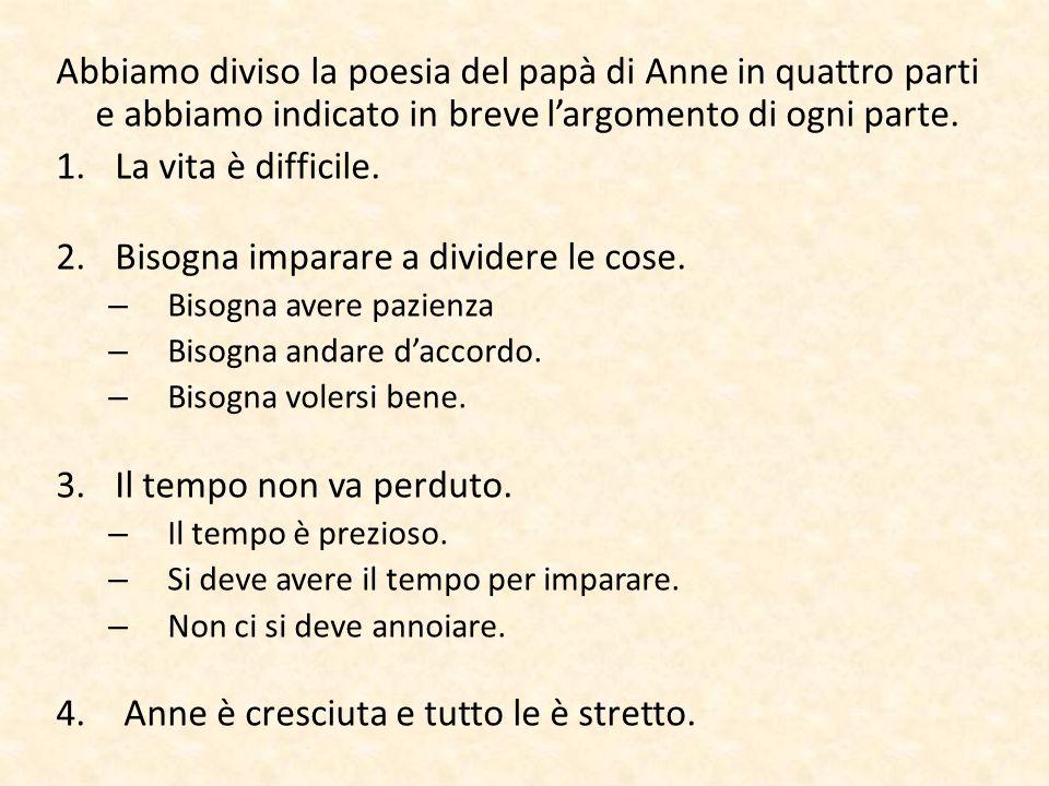 Abbiamo diviso la poesia del papà di Anne in quattro parti e abbiamo indicato in breve l'argomento di ogni parte. 1.La vita è difficile. 2.Bisogna imp