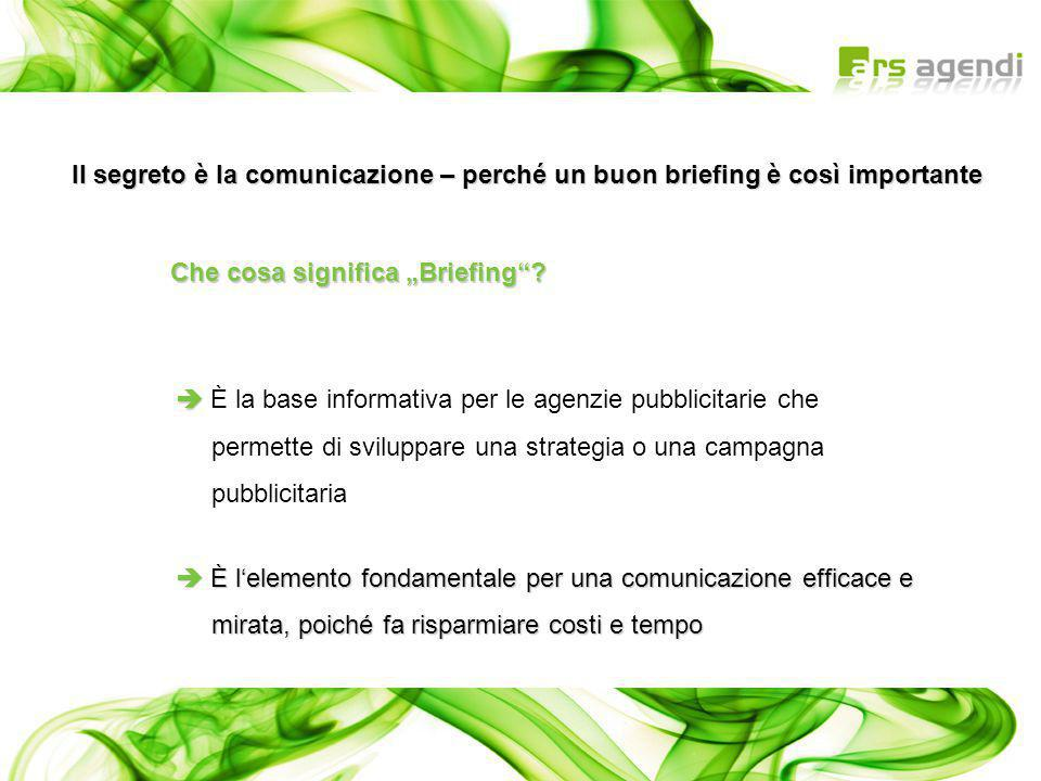   È la base informativa per le agenzie pubblicitarie che permette di sviluppare una strategia o una campagna pubblicitaria  È l'elemento fondamenta